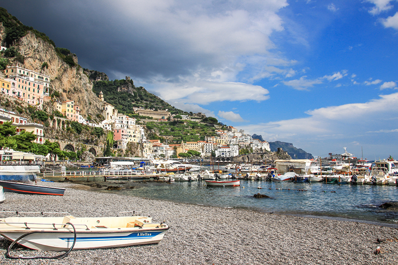 Picture Amalfi Italy Pier Coast Boats Houses Cities Berth Marinas Building