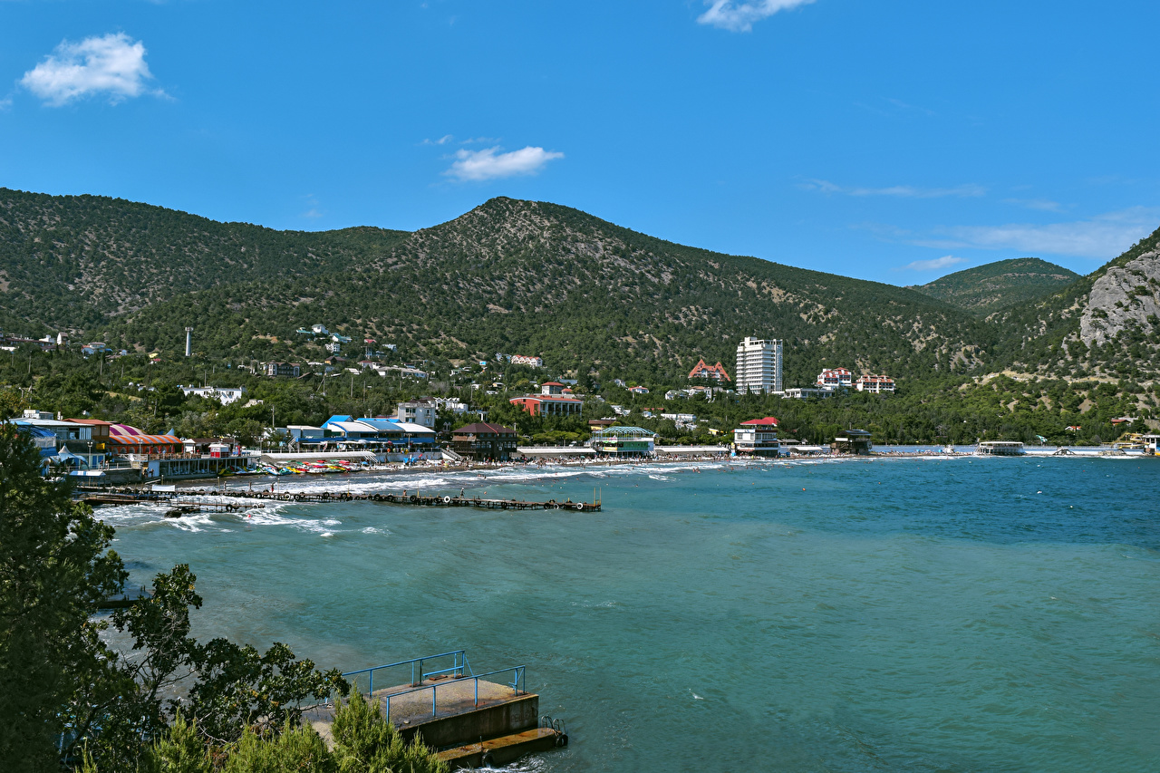 Photo Crimea Russia Sudak Hill Bay Marinas Houses Cities Pier Berth Building