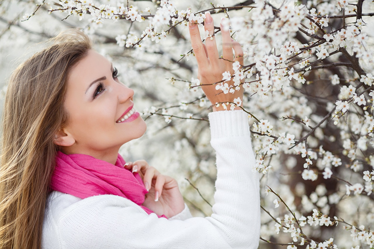 Wallpaper Brown haired Scarf Smile Girls Spring Sweater Hands Flowering trees female young woman