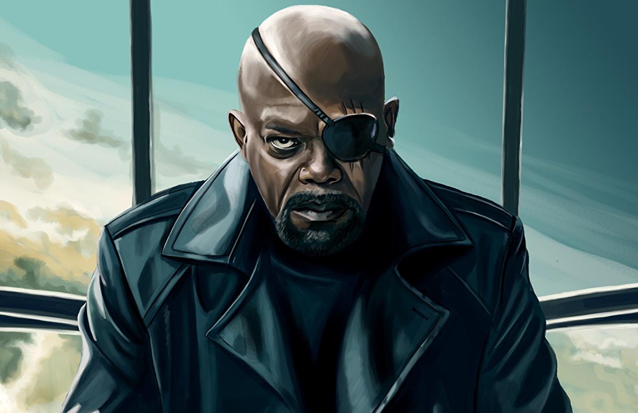 Images The Avengers (2012 film) Heroes comics Men Eye patch Samuel Leroy Jackson Nicholas Joseph Fury Negroid Fantasy Movies superheroes Man film