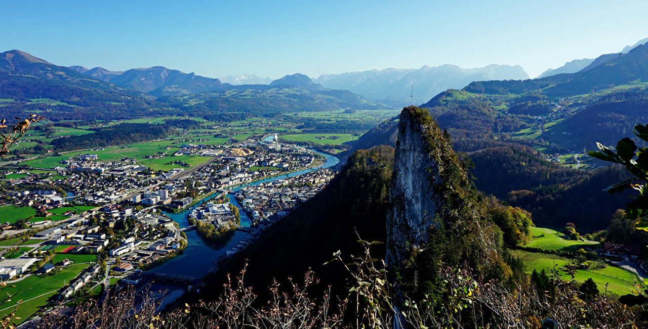 Pictures Alps Austria Valley Nature Mountains Rivers From above Houses mountain river Building