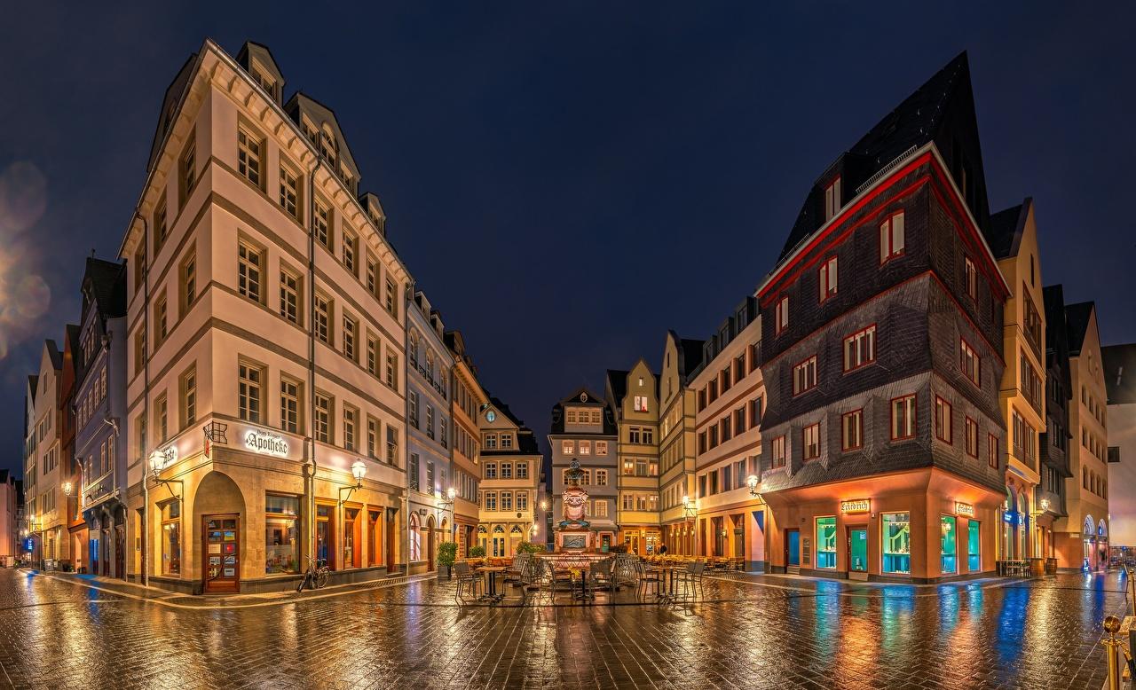Wallpaper Frankfurt Germany Street night time Houses Cities Night Building
