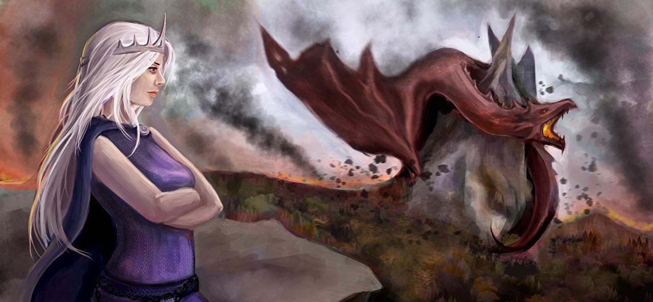 Picture Game Of Thrones Daenerys Targaryen Dragons Blonde