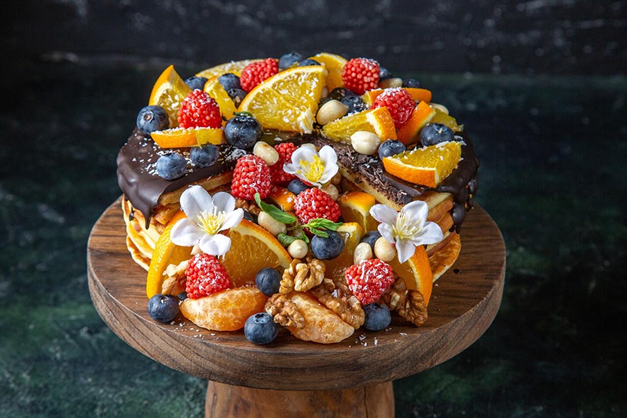 Bakgrunnsbilder til skrivebordet Kake Appelsin Blåbær Bringebær Mat Bær Nøtter