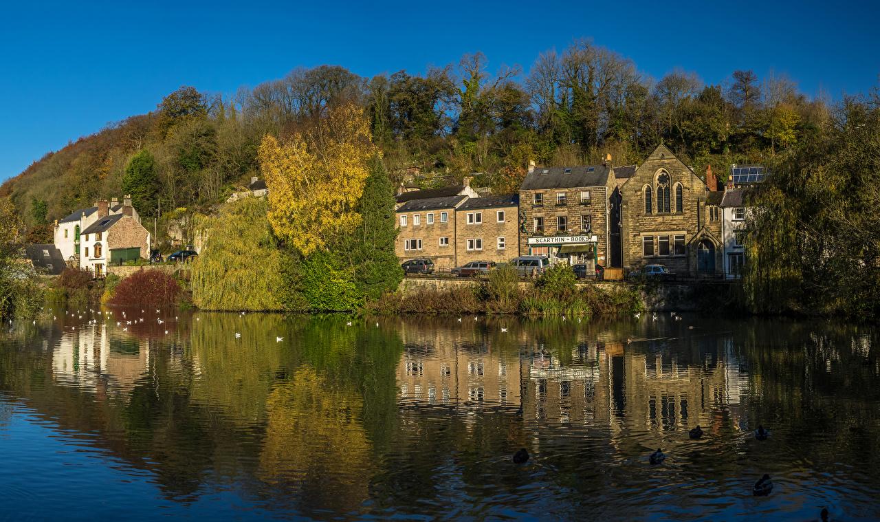 Fotos von England Cromford Derbyshire Flusse Haus Städte Fluss Gebäude