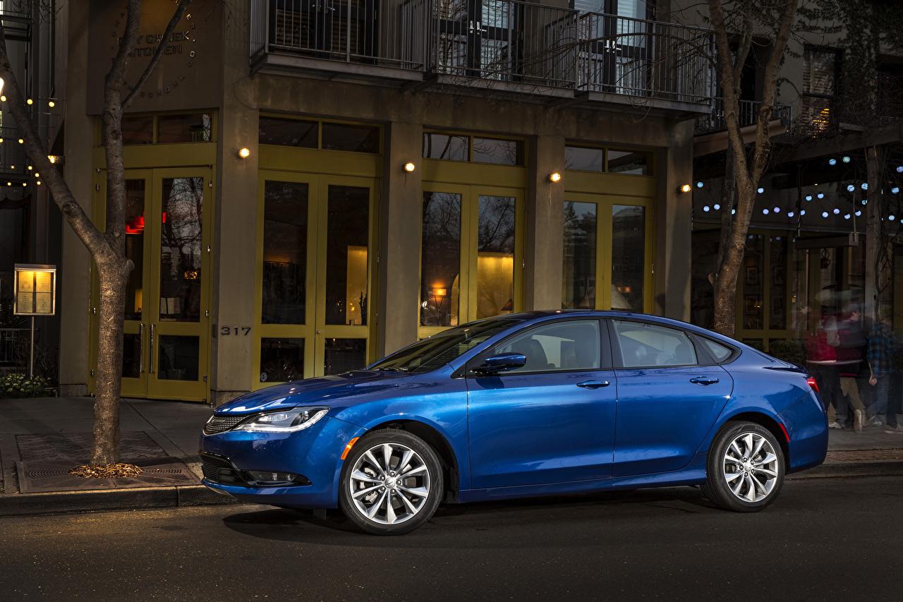 Sfondi del desktop Chrysler 2015 200 sedan Berlina Blu colori autovettura Vista laterale Auto Accanto macchina macchine automobile