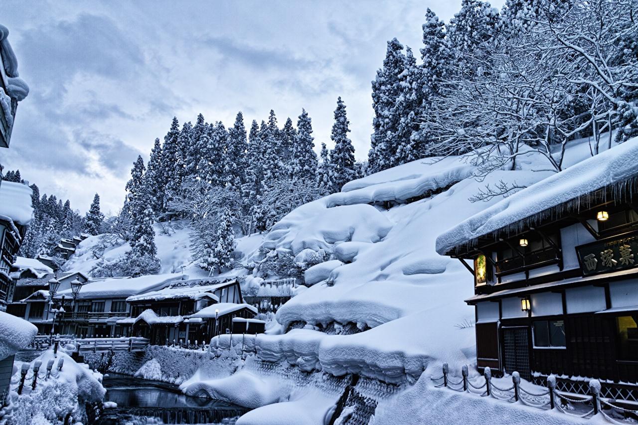 Photos Japan Yamagata, Ginzan Onsen Nature Snow Houses Cities Building