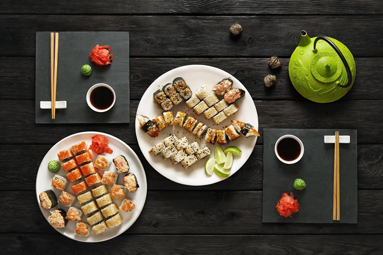 Photo Soy sauce Sushi Food Plate Chopsticks soya sauce