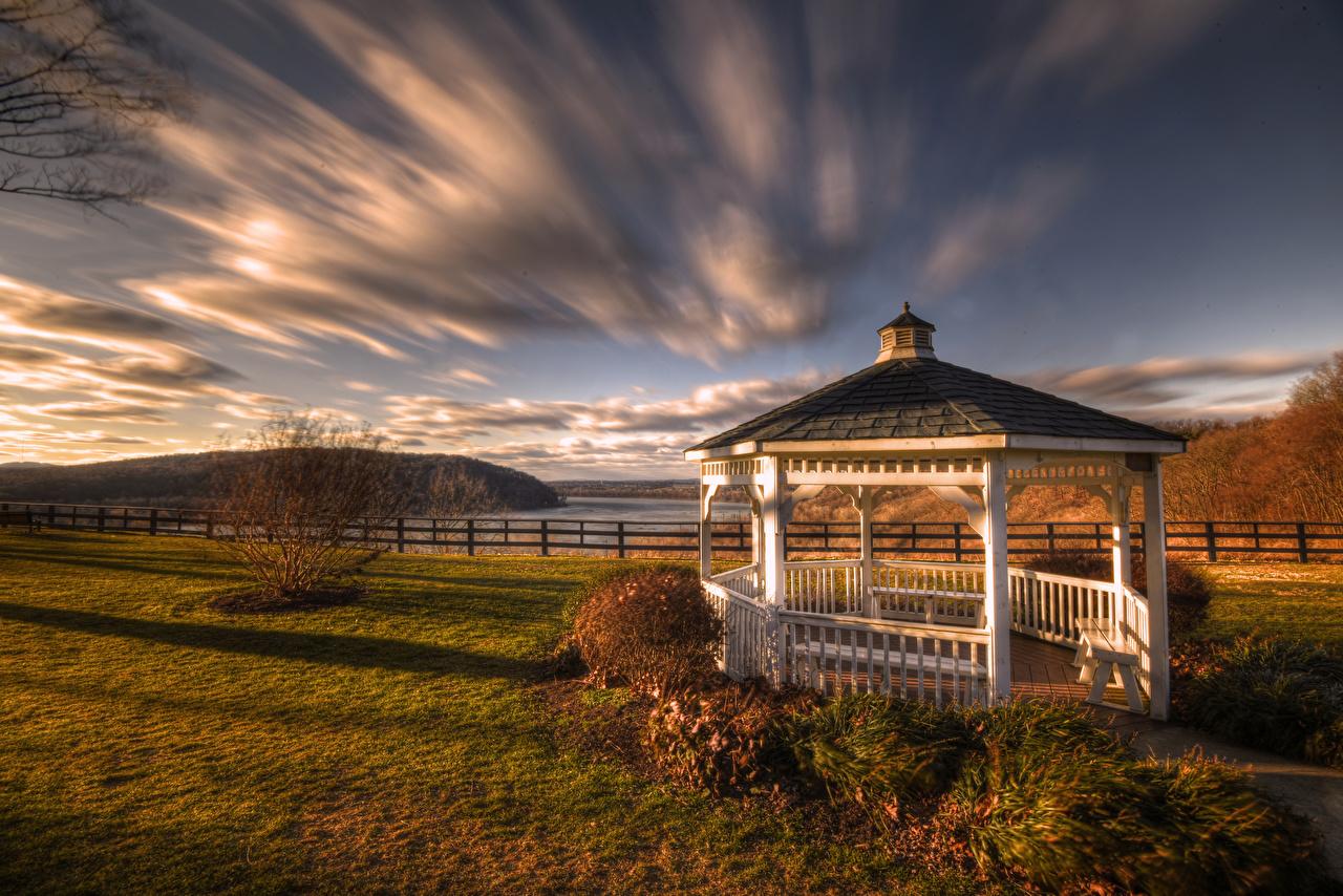 Pictures Pennsylvania USA Klinesville, Gazebo HDRI Autumn Nature Clouds HDR