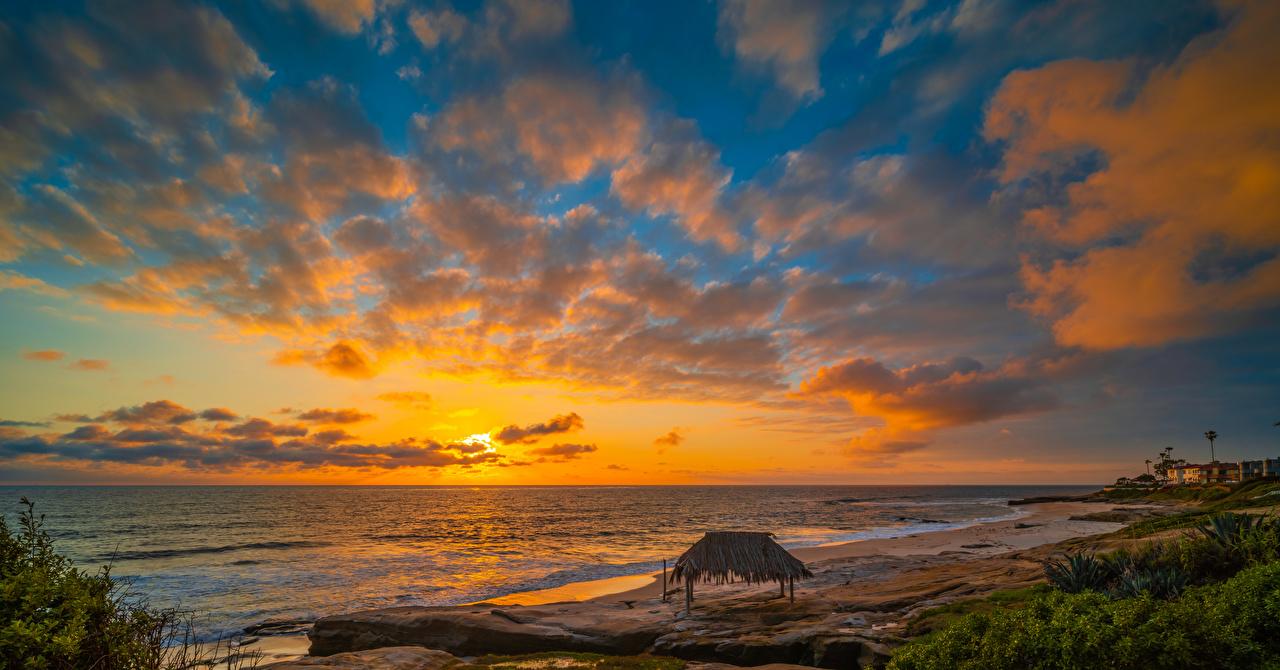 Desktop Wallpapers California USA Windandsea Beach beaches Ocean Nature Sky sunrise and sunset Coast Clouds Sunrises and sunsets