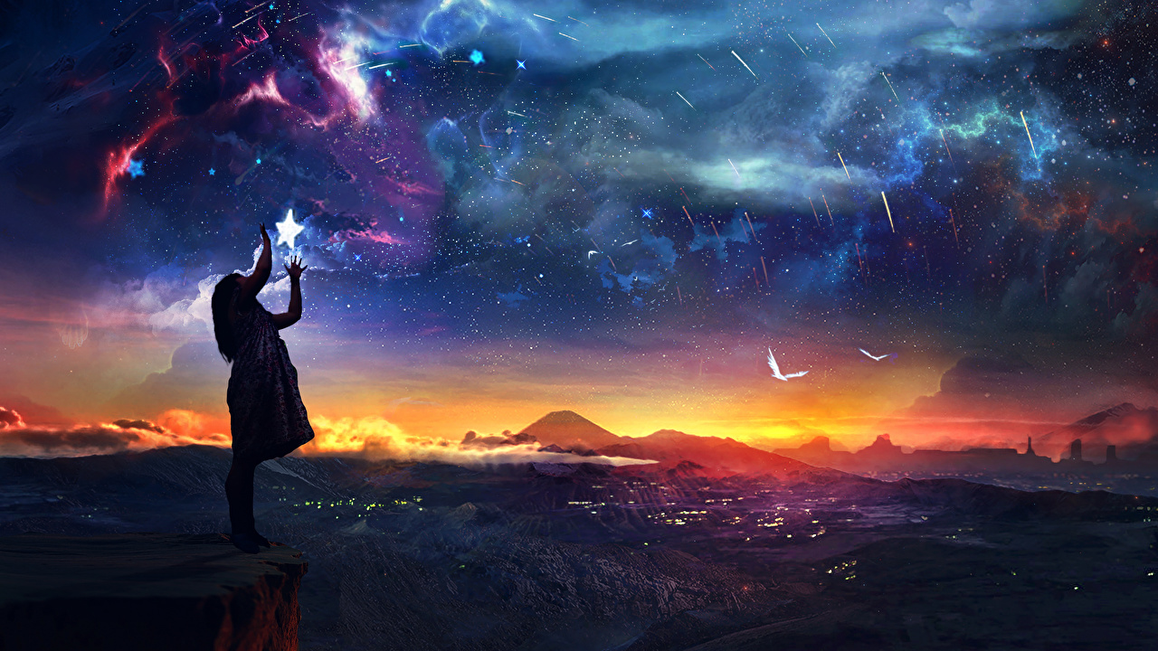 Fotografía De Paisaje Estrella Cielo Roca acantilado Naturaleza Fantasía
