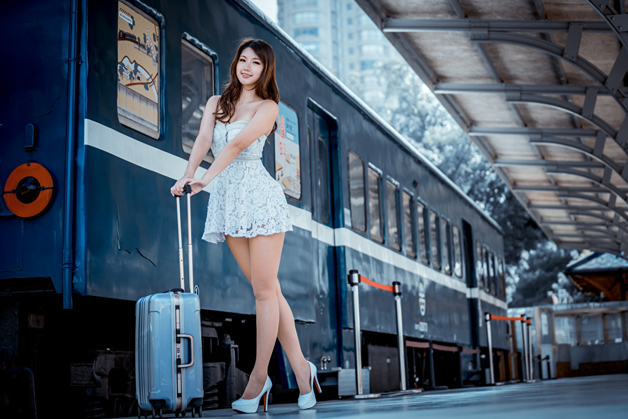 Wallpaper Brown haired Pose female Legs Trains Asiatic Suitcase Glance Dress posing Girls young woman Asian Staring gown frock