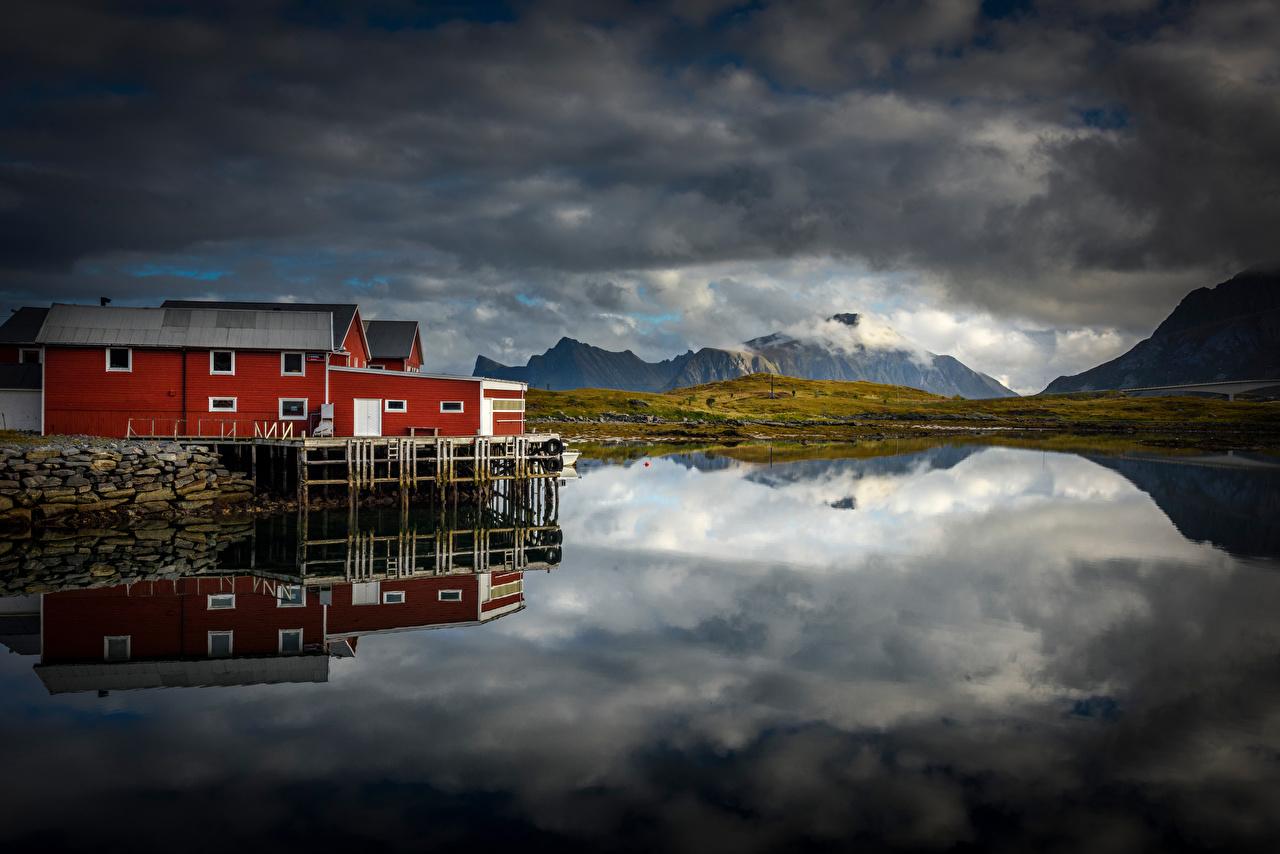 Fotos von Lofoten Norwegen Berg Natur Wolke Gebirge