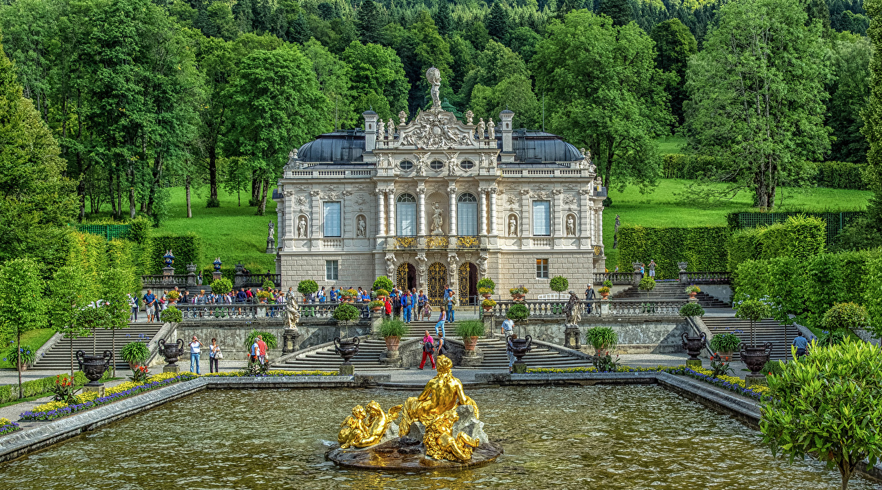 Photo Bavaria Palace Germany Fountains Linderhof HDR stairway Trees Cities Sculptures HDRI Stairs staircase