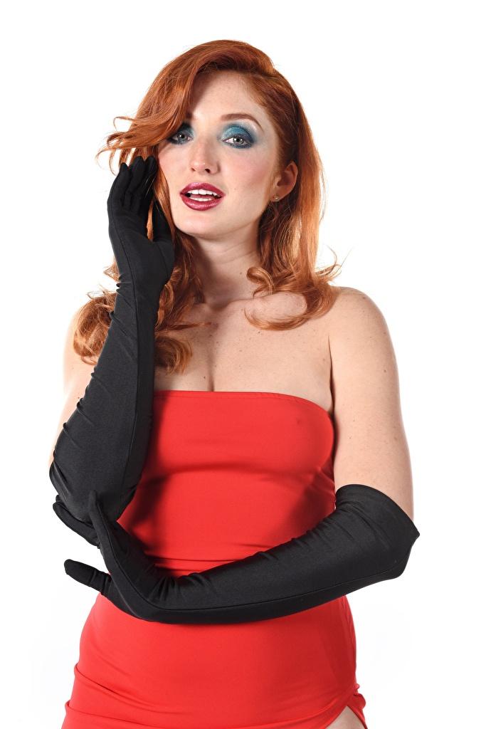 Bilder på skrivbordet ung kvinna Red Fox Michelle H Vit bakgrund Händer Rödhårig tjej Handskar Klänning Smink iStripper ser  till Mobilen Unga kvinnor hand makeup Blick