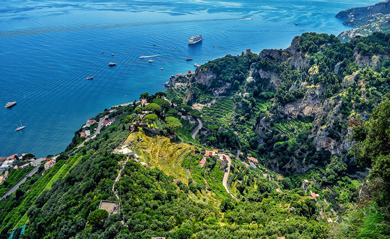 Wallpaper Cities Italy AmalfiVilla Cimbrone From above Amalfi Nature