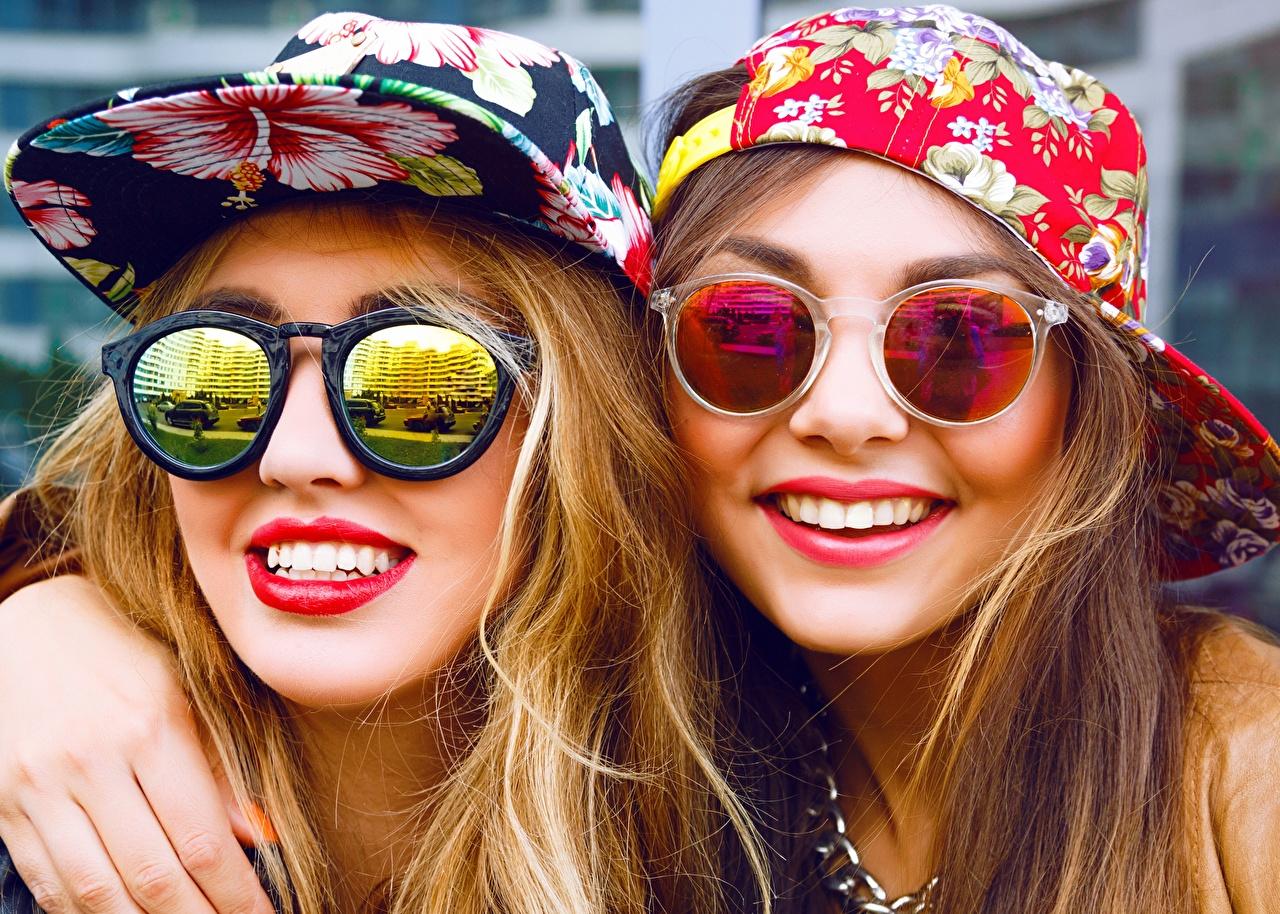 Wallpaper Smile Two Face young woman Glasses Red lips Baseball cap 2 Girls female eyeglasses