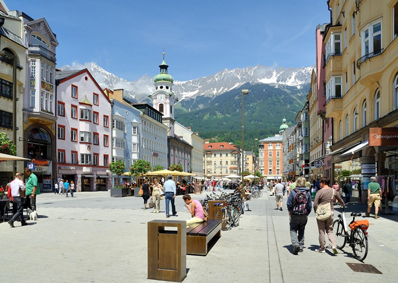 zdjęcia Austria Maria Theresa Street, Innsbruck Rower Ulica Ławka Latarnia uliczna Miasta rowery miasto