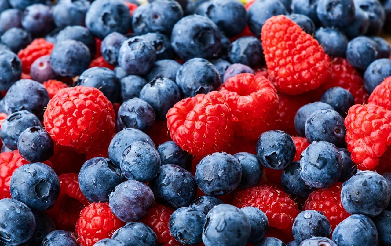Desktop Wallpapers Raspberry Blueberries Food Berry Many