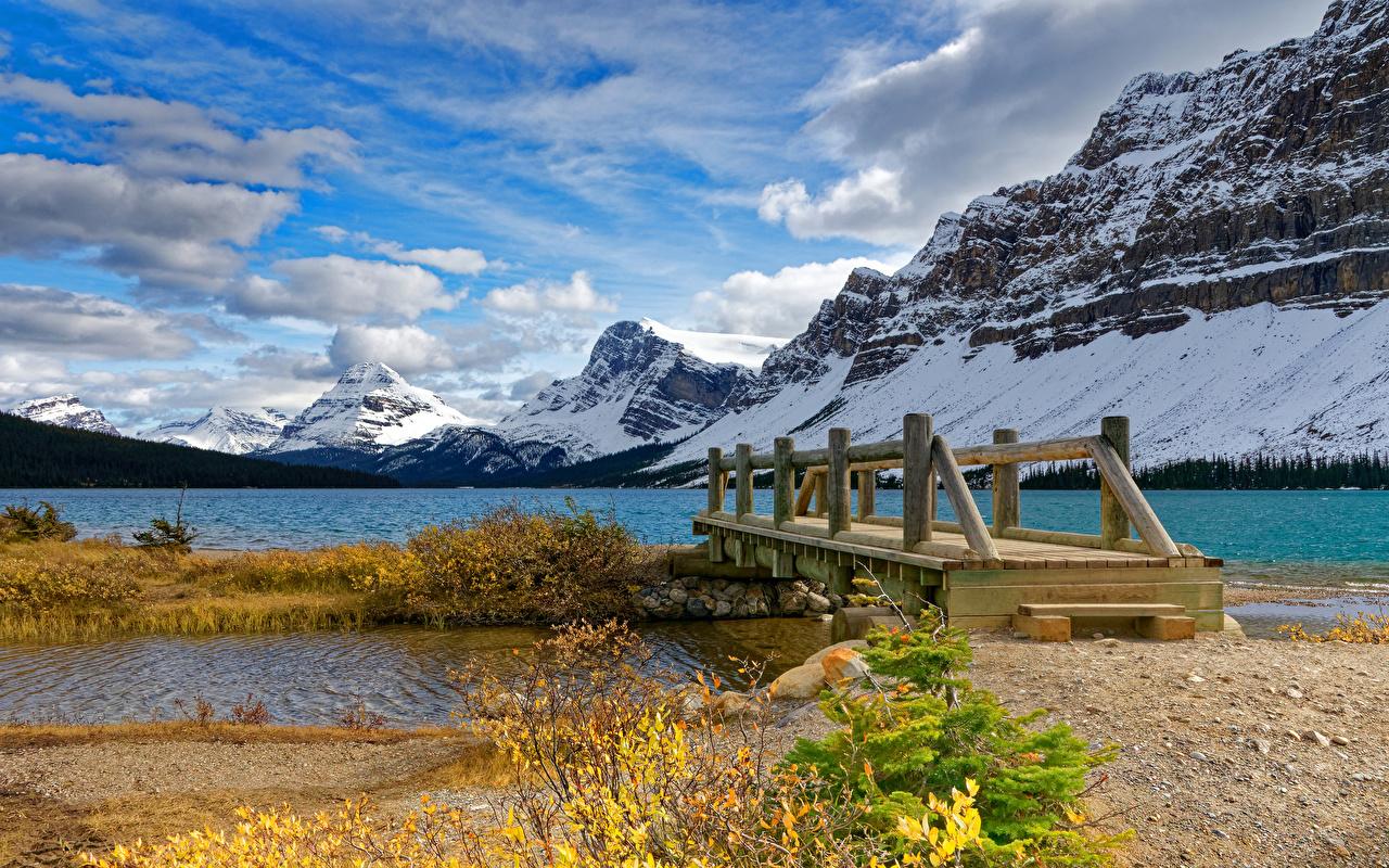 Pictures Banff Canada Nature bridge mountain Snow Lake Parks Bridges Mountains park