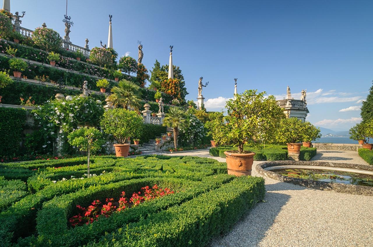 Pictures Italy Lake Gardens Shrubs Cities Sculptures Landscape design Bush