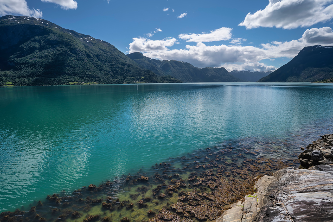 Image Norway Lustrafjorden, fjord Nature Mountains Clouds mountain