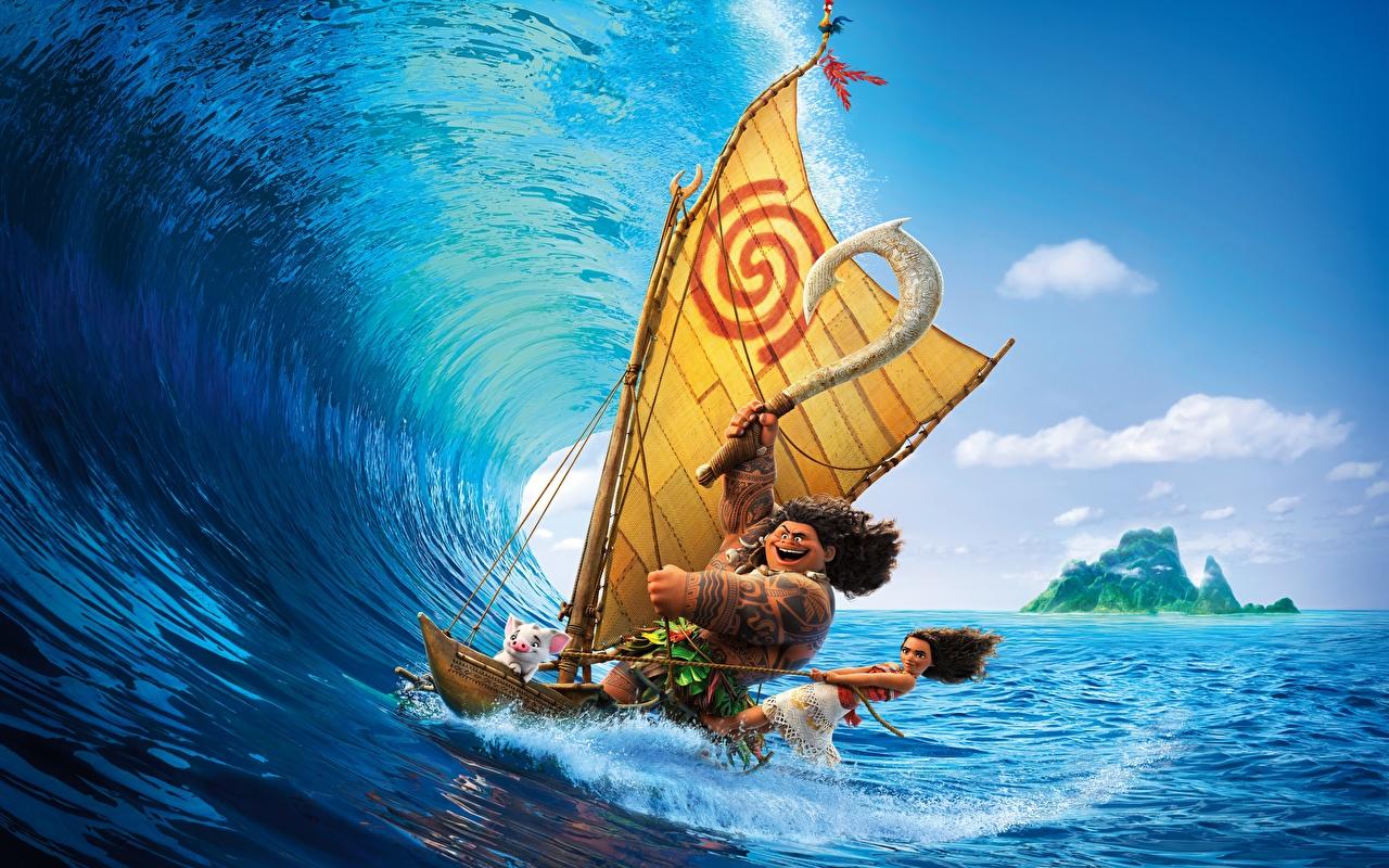 Hintergrundbilder Vaiana – Das Paradies hat einen Hak Maui Meer Surfen Animationsfilm Wasserwelle 1280x800 Wellenreiten Zeichentrickfilm