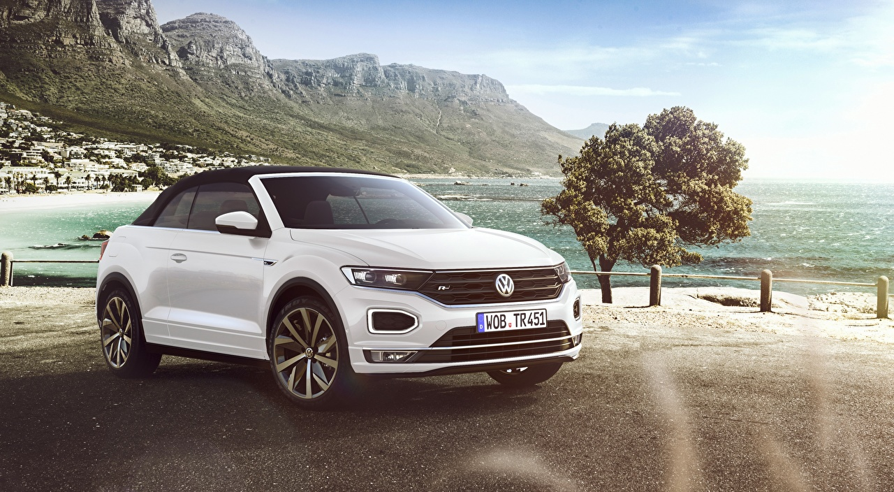 Photo Volkswagen T-Roc, Cabriolet, R-Line, 2020 Cabriolet White auto Convertible Cars automobile
