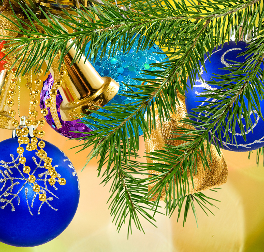 Desktop Wallpapers Christmas Bells Balls Branches