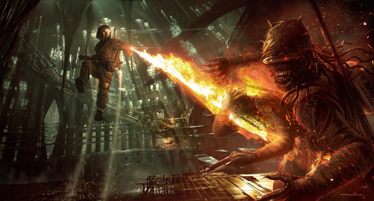 Wallpaper Boba Fett Star Wars 1313 Flame Vdeo Game