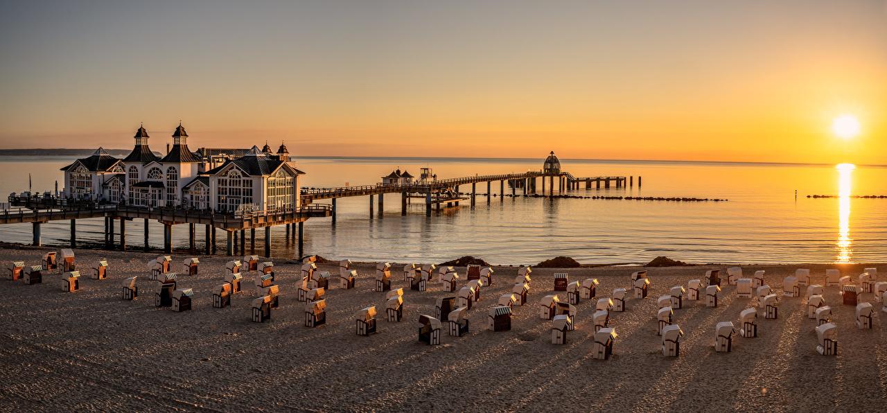 Image Nature Germany panoramic Beach Morning Sunrises and sunsets Coast Panorama beaches sunrise and sunset