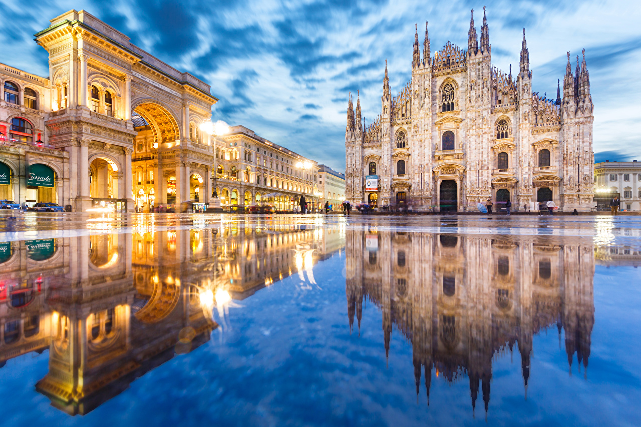 Wallpaper Italy Arch Town square Duomo Milan Street Puddle reflected Cities Reflection