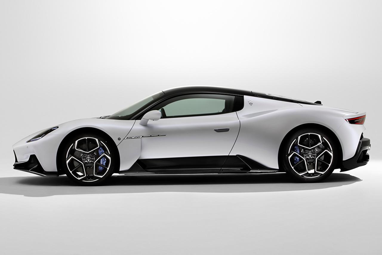 Desktop Wallpapers Maserati MC20, 2020 White Side Metallic automobile Cars auto