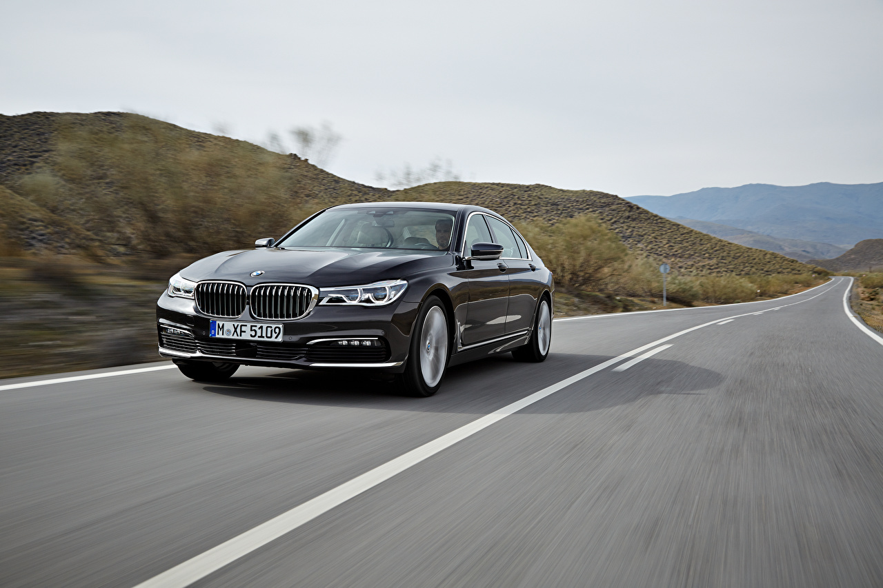 Desktop Wallpapers BMW 2015, 750Li, G12, xDrive Black Roads at speed auto moving riding Motion driving Cars automobile