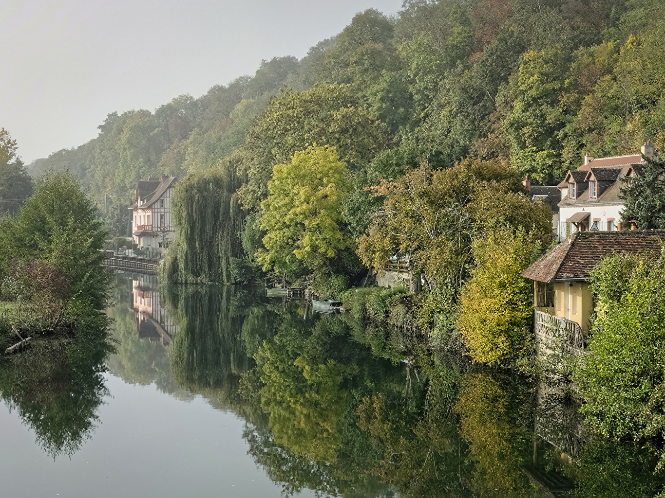 Photo France Montigny Nature forest river Berth Houses Forests Pier Rivers Marinas Building