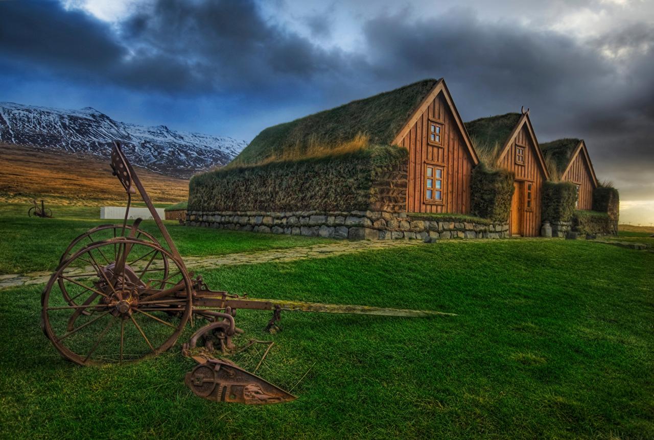 Desktop Hintergrundbilder Irland Icelandic Farms Gras Abend Städte Gebäude Haus