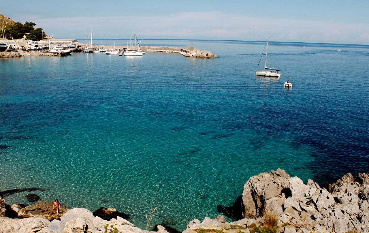 Desktop Wallpapers Italy Capo Gallo Palermo Nature Bay Coast Marinas Pier Berth