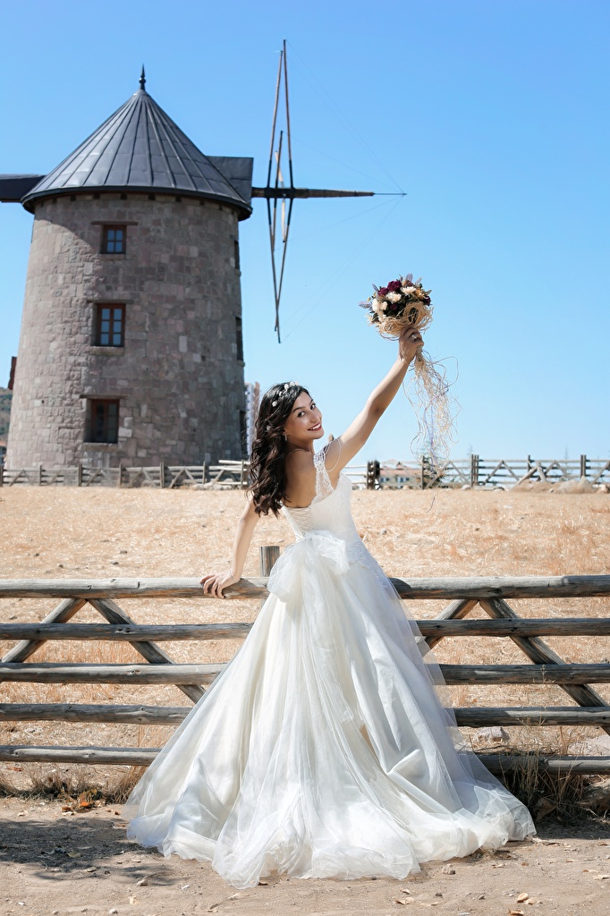 Picture Bride Wedding Brunette girl Mill Bouquets Girls Fence Dress  for Mobile phone noces brides marriage windmill windmills bouquet female young woman gown frock