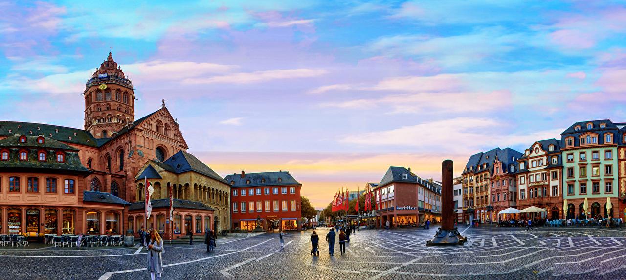 Fotos Städte Deutschland Denkmal Mainz Abend Haus Platz Gebäude