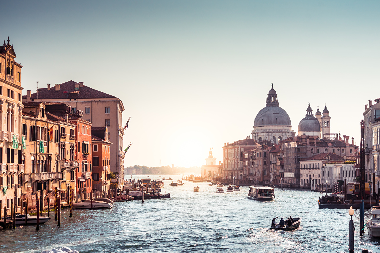 Pictures Venice Italy Grand canal Canal Riverboat Sunrises and sunsets Cities sunrise and sunset