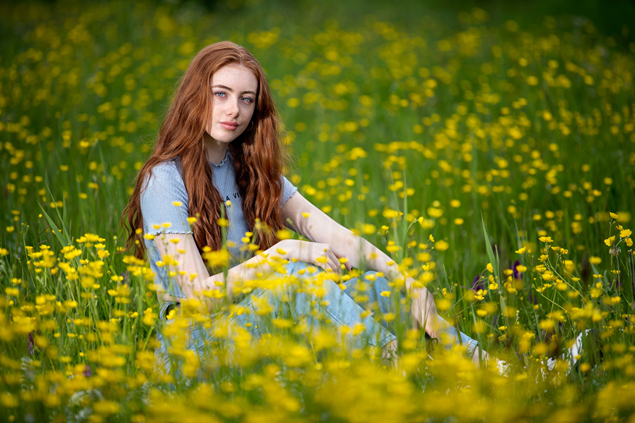Fotos von Rotschopf Emilia Mädchens Grünland Sitzend Blick junge frau junge Frauen sitzt sitzen Starren