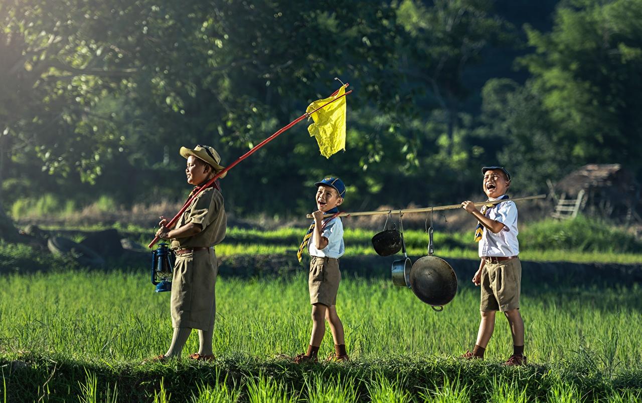 Photos Boys child Hat Asiatic Grass Shorts Three 3 Children Asian