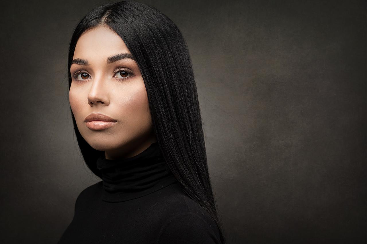 Bilder Brünette Make Up Brenda Haar Gesicht junge frau Starren Schminke Mädchens junge Frauen Blick
