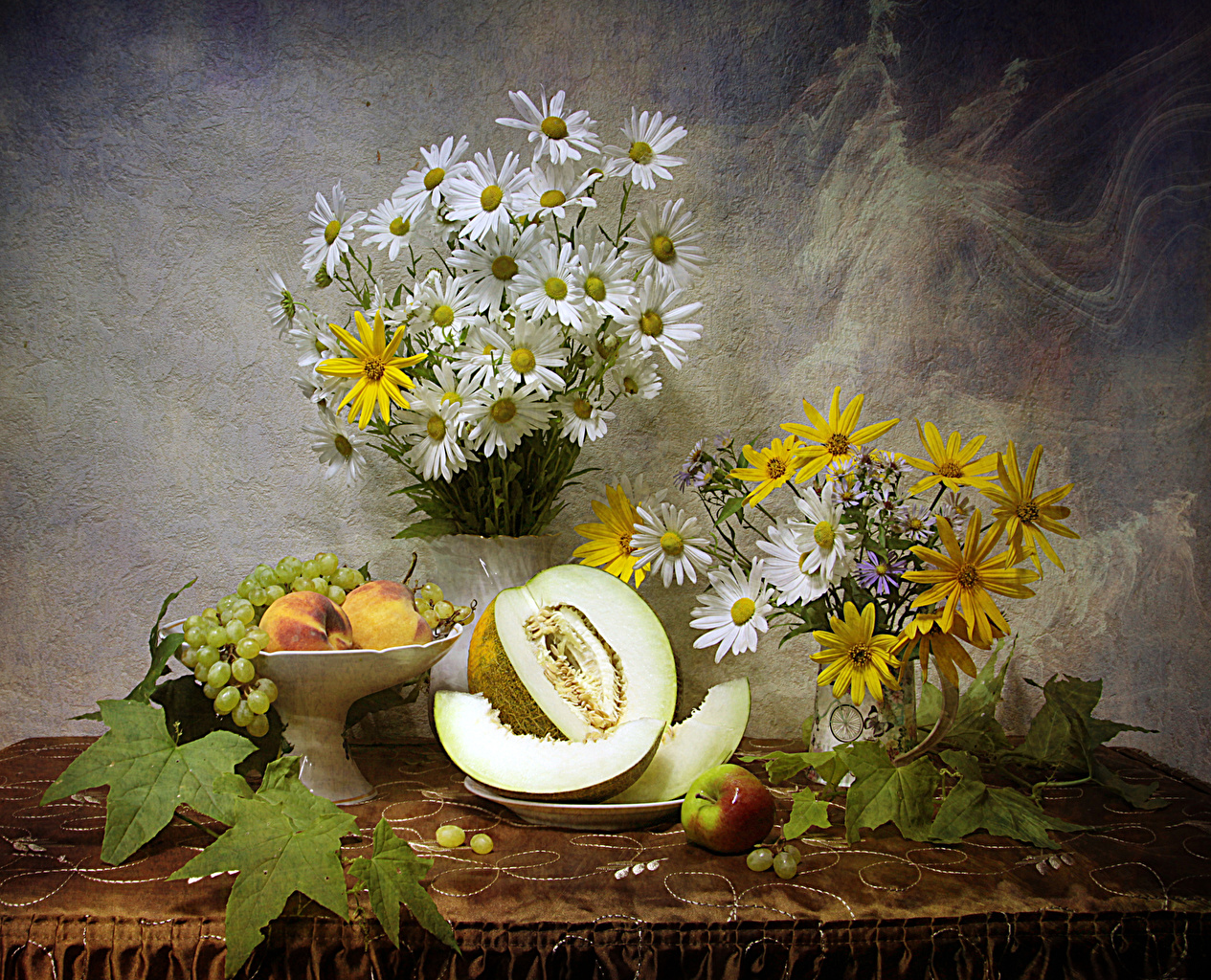 Wallpaper Bouquets Melons Grapes Apples Peaches Flowers Camomiles Food Still-life bouquet flower matricaria