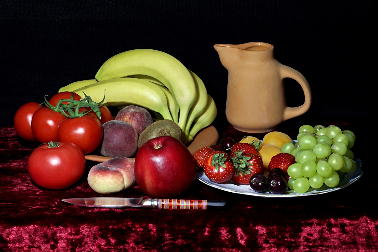 Picture Knife Tomatoes Grapes Apples Bananas Peaches Strawberry Jug container Food Still-life jugs pitcher