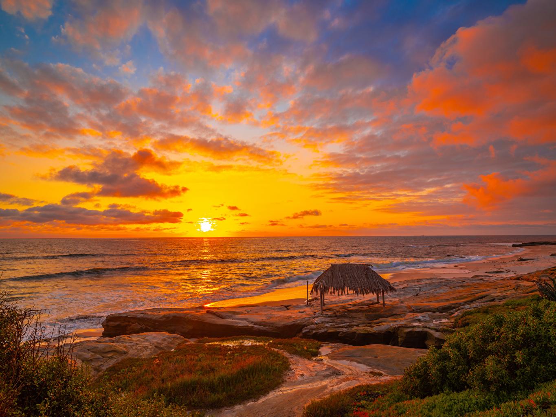 Fotos Kalifornien USA Winandsea Beach La Jolla Meer Natur Himmel Wasserwelle Landschaftsfotografie Morgendämmerung und Sonnenuntergang Küste Wolke Vereinigte Staaten Sonnenaufgänge und Sonnenuntergänge