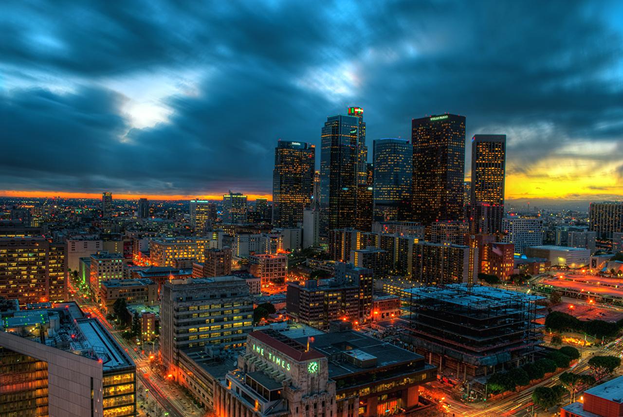 壁紙 アメリカ合衆国 住宅 超高層建築物 空 ロサンゼルス カリフォルニア州 メガロポリス 夜 都市 ダウンロード 写真