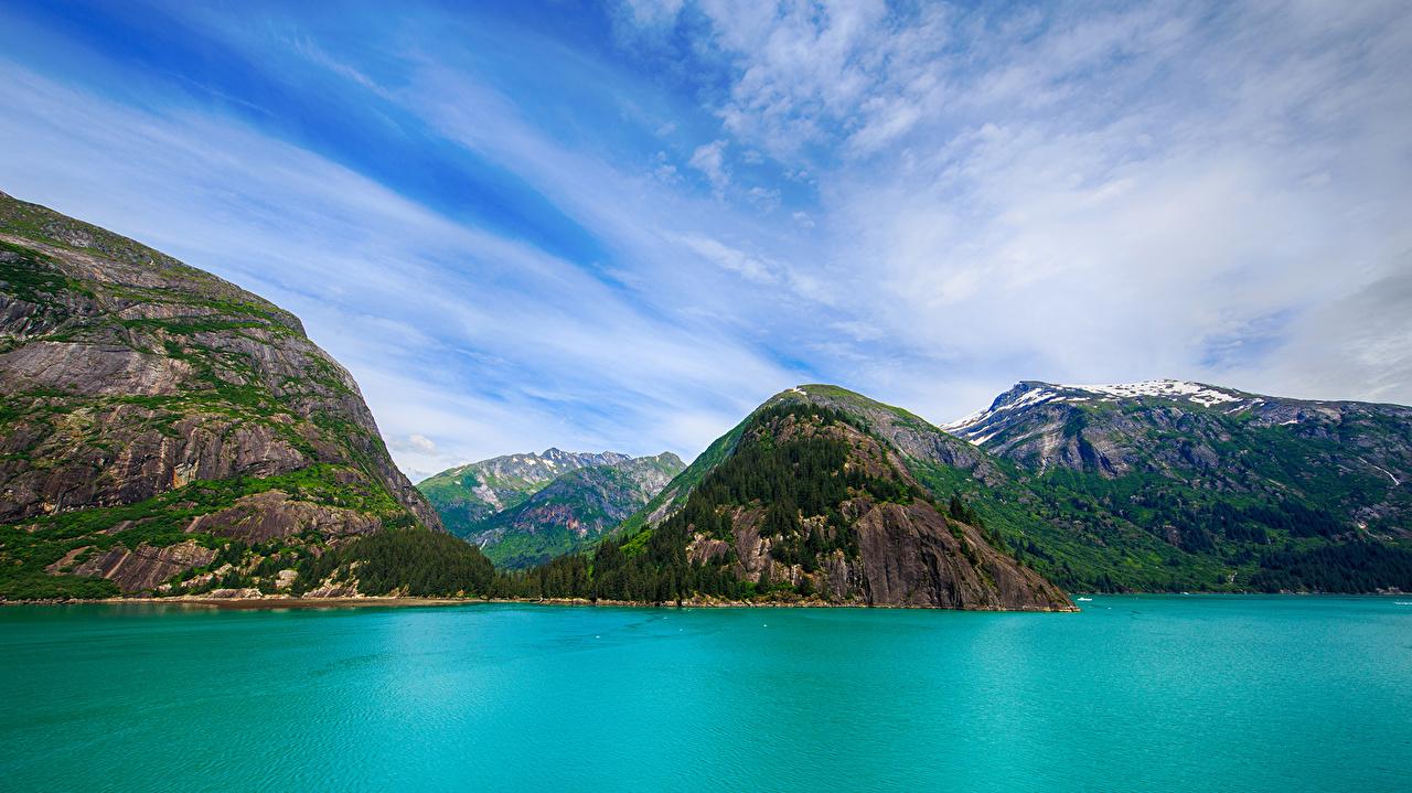 、アメリカ合衆国、山、湖、空、風景写真、アラスカ州、、自然、