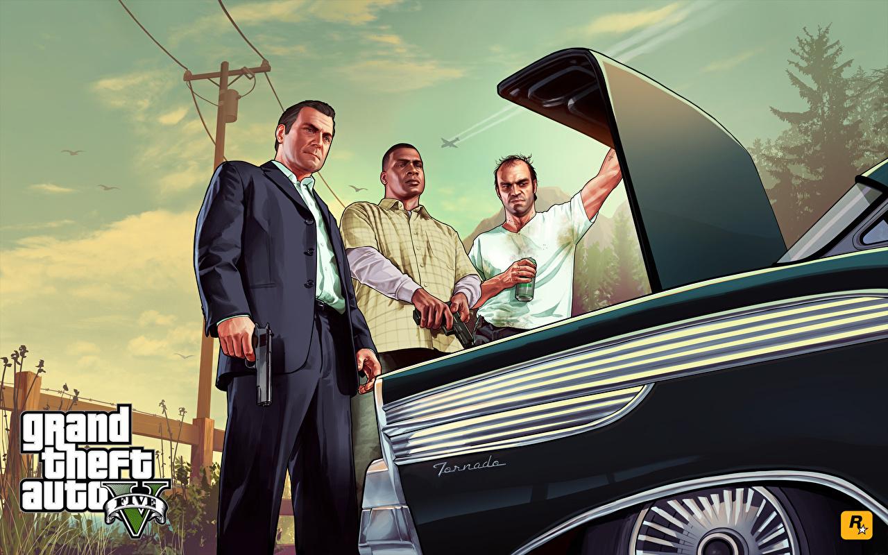 Fondos de Pantalla Grand Theft Auto GTA 5 Varón Michael Trevor Franklin  Traje Juegos 3D Gráficos descargar imagenes
