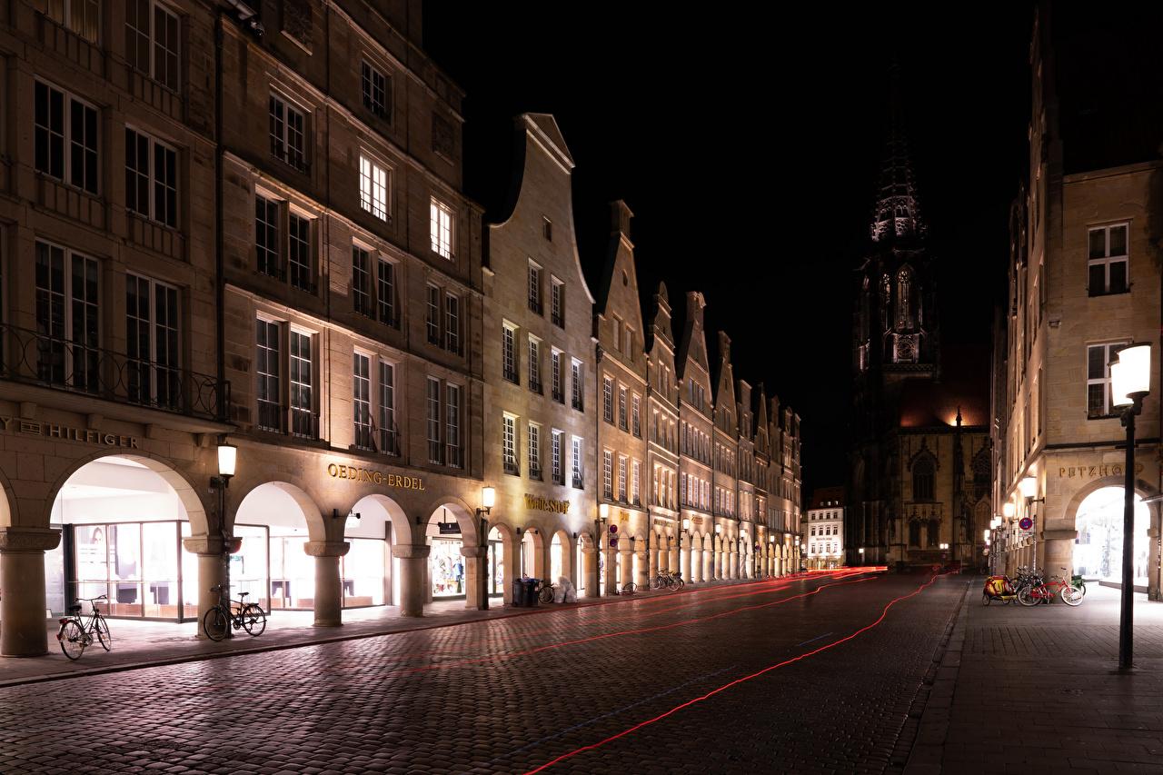 Обои улица, ночь, дома, фонари, германия, дороги. Города foto 6